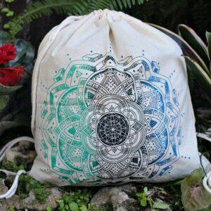 drawstring bag, mandala bag
