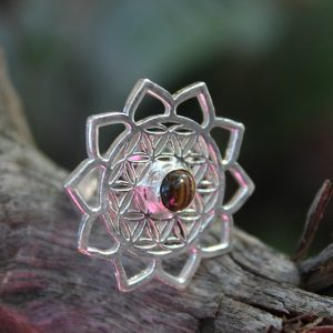 flower of life ring, tigers eye ring