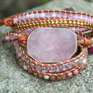 rose quartz wrap bangle, bohemian wrap bangle, hippie bangle