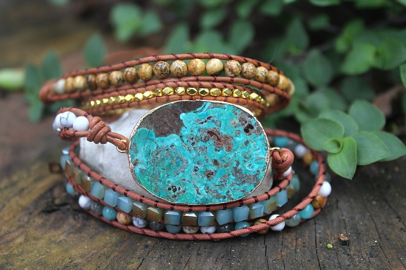 Blue Jasper wrap bangle, wrap bangles South Africa