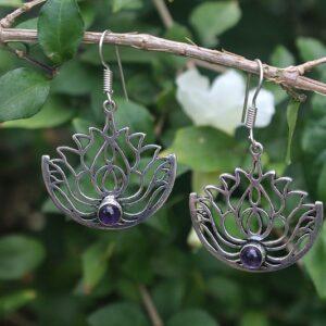 amethyst earrings, lotus flower earrings