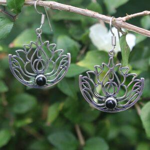 black onyx earrings, lotus flower earrings, boho jewelry