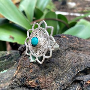 turquoise ring, flower of life ring