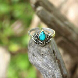 turquoise stone, toe ring, boho toe ring