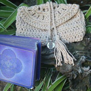 tarot card bag, crochet bag