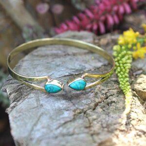 Turquoise stone bangle, bohemian jewelry South Africa