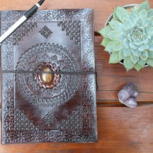 leather dairy with Tigers Eye, leather diary from Indian in South Africa