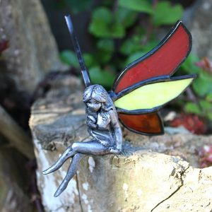sitting fairy, stained glass fairy