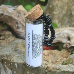 Black tourmaline bangle, stone chipped bangle