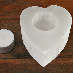 selenite candle holder, celenite crystal