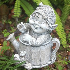 gnome in a watering can, garden gnome