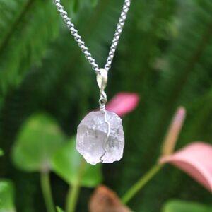 Kunzite necklace, kunzite crystal necklace