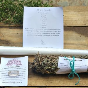 White candle smudge kit, candle smudge kit