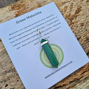 Green Malachite crystal point, 925 silver crystal