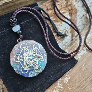 Metatron's cube necklace, gemstone necklace